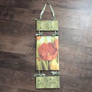 Other - Wooden Wall Art Poppy & Paisley Flower